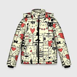 Куртка зимняя для мальчика Любящие котики цвета 3D-черный — фото 1