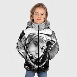 Детская зимняя куртка для мальчика с принтом Юрий Гагарин, цвет: 3D-черный, артикул: 10082403206063 — фото 2