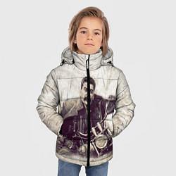 Детская зимняя куртка для мальчика с принтом Сталин байкер, цвет: 3D-черный, артикул: 10082408006063 — фото 2