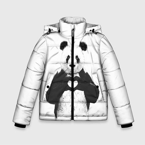 Зимняя куртка для мальчика Panda Love / 3D-Черный – фото 1