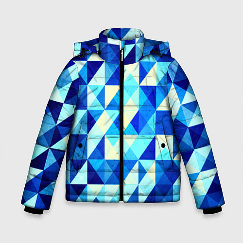 Зимняя куртка для мальчика Синяя геометрия / 3D-Черный – фото 1