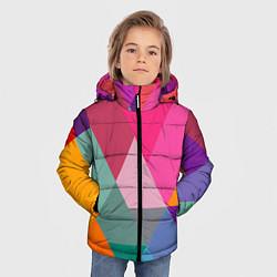 Куртка зимняя для мальчика Разноцветные полигоны цвета 3D-черный — фото 2