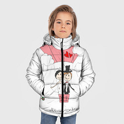 Детская зимняя куртка для мальчика с принтом Молодожены на шаре, цвет: 3D-черный, артикул: 10085369306063 — фото 2