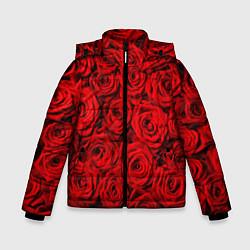 Детская зимняя куртка для мальчика с принтом Красные розы, цвет: 3D-черный, артикул: 10085386706063 — фото 1