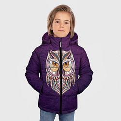 Куртка зимняя для мальчика Расписная сова цвета 3D-черный — фото 2