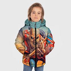 Детская зимняя куртка для мальчика с принтом Iron Maiden: Crash arrow, цвет: 3D-черный, артикул: 10089880706063 — фото 2