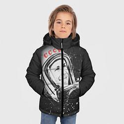 Детская зимняя куртка для мальчика с принтом Гагарин в космосе, цвет: 3D-черный, артикул: 10091680406063 — фото 2