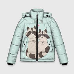 Куртка зимняя для мальчика Влюбленные еноты цвета 3D-черный — фото 1