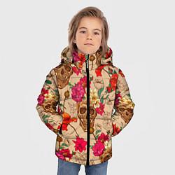 Куртка зимняя для мальчика Черепа в цветах цвета 3D-черный — фото 2