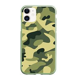 Чехол iPhone 11 матовый Камуфляж: зеленый/хаки цвета 3D-салатовый — фото 1