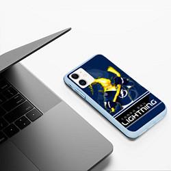Чехол iPhone 11 матовый Bay Lightning цвета 3D-голубой — фото 2