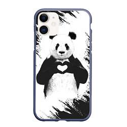Чехол iPhone 11 матовый Panda Love цвета 3D-серый — фото 1