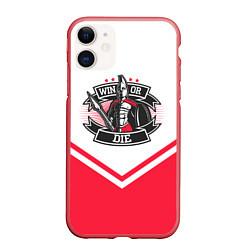 Чехол iPhone 11 матовый Победи или умри цвета 3D-красный — фото 1