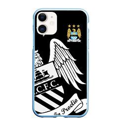 Чехол iPhone 11 матовый FC Manchester City: Exclusive цвета 3D-голубой — фото 1