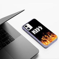 Чехол iPhone 11 матовый Kiss: Hell Flame цвета 3D-светло-сиреневый — фото 2