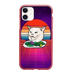 Чехол iPhone 11 матовый Woman yelling at a cat цвета 3D-красный — фото 1