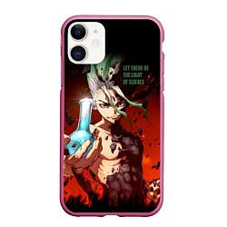 Чехол iPhone 11 матовый Доктор Стоун цвета 3D-малиновый — фото 1