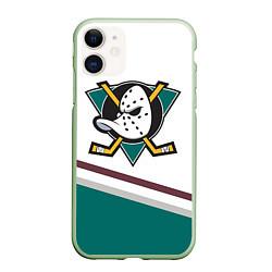 Чехол iPhone 11 матовый Anaheim Ducks Selanne цвета 3D-салатовый — фото 1