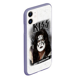 Чехол iPhone 11 матовый KISS: Adult spaceman wig цвета 3D-серый — фото 2