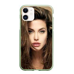 Чехол iPhone 11 матовый Анжелина Джоли цвета 3D-салатовый — фото 1
