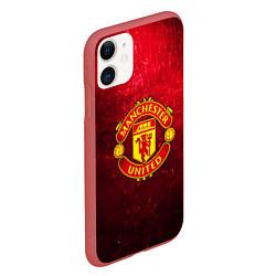 Чехол iPhone 11 матовый Манчестер Юнайтед цвета 3D-красный — фото 2