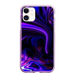 Чехол iPhone 11 матовый Цветные разводы цвета 3D-сиреневый — фото 1