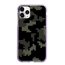 Чехол iPhone 11 Pro матовый Камуфляж пиксельный: черный/серый цвета 3D-светло-сиреневый — фото 1