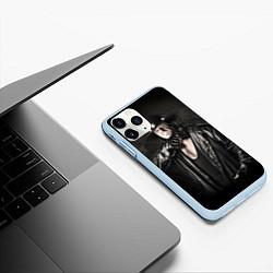 Чехол iPhone 11 Pro матовый Гробовщик 2 цвета 3D-голубой — фото 2