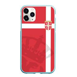 Чехол iPhone 11 Pro матовый Сборная Сербии цвета 3D-мятный — фото 1