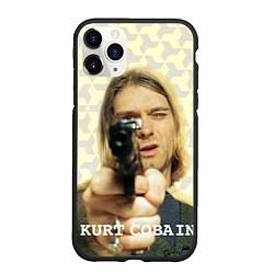 Чехол iPhone 11 Pro матовый Кобейн с пистолетом цвета 3D-черный — фото 1