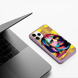 Чехол iPhone 11 Pro матовый Kurt Cobain: Abstraction цвета 3D-сиреневый — фото 2