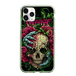 Чехол iPhone 11 Pro матовый BFMV: Roses Skull цвета 3D-салатовый — фото 1