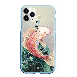 Чехол iPhone 11 Pro матовый Рыба цвета 3D-голубой — фото 1