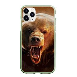 Чехол iPhone 11 Pro матовый Рык медведя цвета 3D-салатовый — фото 1