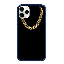 Чехол iPhone 11 Pro матовый Золотая цепь цвета 3D-тёмно-синий — фото 1