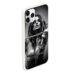 Чехол iPhone 11 Pro матовый Девушка с цепью цвета 3D-белый — фото 2
