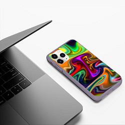 Чехол iPhone 11 Pro матовый Неоновые разводы цвета 3D-серый — фото 2