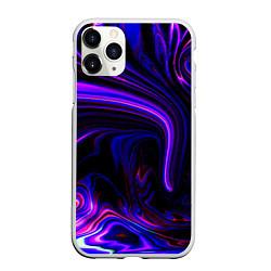 Чехол iPhone 11 Pro матовый Цветные разводы цвета 3D-белый — фото 1