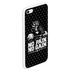 Чехол iPhone 6/6S Plus матовый No Pain No Gain цвета 3D-белый — фото 2