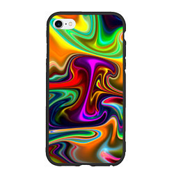 Чехол iPhone 6/6S Plus матовый Неоновые разводы цвета 3D-черный — фото 1
