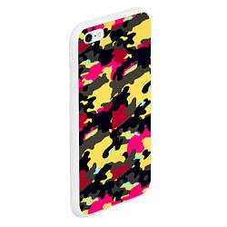 Чехол iPhone 6/6S Plus матовый Камуфляж: желтый/черный/розовый цвета 3D-белый — фото 2