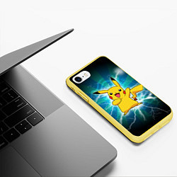 Чехол iPhone 7/8 матовый Искрящийся Пикачу цвета 3D-желтый — фото 2