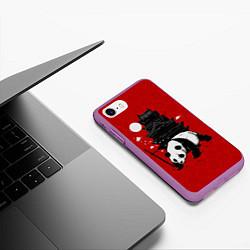 Чехол iPhone 7/8 матовый Panda Warrior цвета 3D-фиолетовый — фото 2
