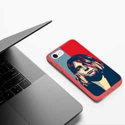 Чехол iPhone 7/8 матовый Kurt Cobain цвета 3D-красный — фото 2