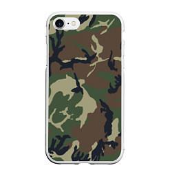 Чехол iPhone 7/8 матовый Камуфляж: хаки/зеленый цвета 3D-белый — фото 1