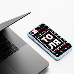 Чехол iPhone 7/8 матовый Толя цвета 3D-голубой — фото 2