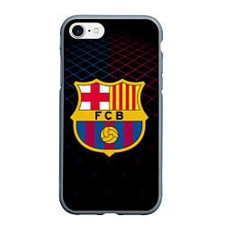 Чехол iPhone 7/8 матовый FC Barcelona Lines цвета 3D-серый — фото 1