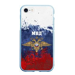 Чехол iPhone 7/8 матовый МВД цвета 3D-голубой — фото 1
