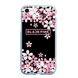 Чехол iPhone 7/8 матовый Black Pink: Pink Sakura цвета 3D-голубой — фото 1