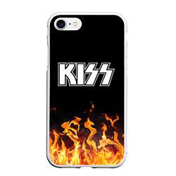 Чехол iPhone 7/8 матовый Kiss: Hell Flame цвета 3D-белый — фото 1